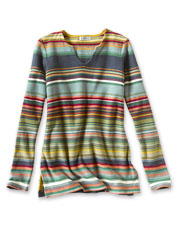 Our Blanket-Stripe Tunic Sweater nods to the American West with its appealing color palette.