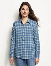 This eye-catching plaid shirt earns textural appeal from its crushed cotton herringbone.