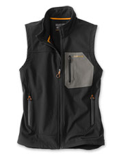 Nylon makes the men's Tech Softshell Vest durable, and a microfleece lining makes it warm.