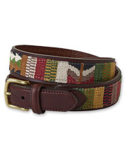 A handwoven inlay adds a pop of color to our Latigo Leather Guatemalan Belt.
