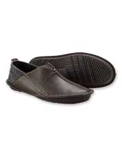 Rubber outsoles make these handsome leather slippers at home indoors and outdoors.