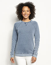 A bird's-eye pattern in faded indigo elevates our incredibly soft crewneck sweatshirt.