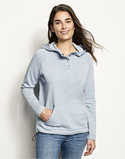Our supremely soft French terry hoodie gets its distinctive faded hue from genuine indigo dye.
