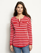 Cotton and cashmere come together beautifully in our wear-anywhere Striped Henley sweater.