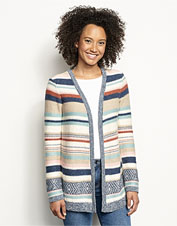 Our Faded Stripe Cardigan features a soft, luxurious blend of cotton, linen, and silk yarns.