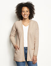 Our Waffle Knit Cardigan features a soft cotton/cashmere blend for seasons-spanning comfort.