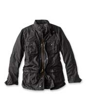 The waxed cotton Barbour Corbridge Jacket boasts rugged construction and impressive utility.