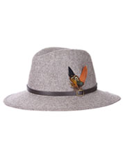 The must-have Dene Fedora from Barbour boasts a feathery spray and classic herringbone tweed.
