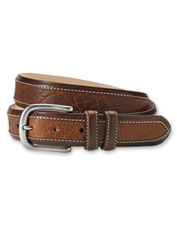Bison leather inlays add dimension to this unusual belt for extra appeal.
