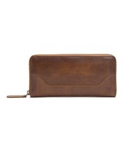 Frye brings its celebrated Western aesthetic to the handcrafted leather Melissa Zip Wallet.