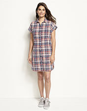 Our Washed Indigo Plaid Dress feels lived-in soft from the first wearing.