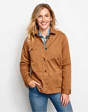 Pretty and practical, our Herringbone Chore Jacket boasts lived-in comfort from the get-go.