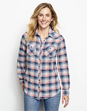 Our Lightweight Washed Indigo Plaid Shirt offers three-season comfort in a cotton/linen blend.