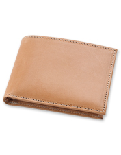 The natural leather in this handsome billfold takes on more character with time.