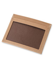 The untreated natural leather in our card carrier looks better and better as time wears on.