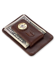 A brass shotshell and full-grain leather make this money clip perfect for the sportsman.