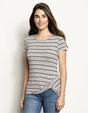 Our Striped Side-Twist Tee offers soft, stretchy comfort in a whimsical casual style.
