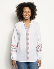Our version of a classic: This popover shirt features lightweight fabric and pretty embroidery.