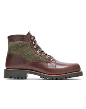 Distinctive wool panels add interest to the rugged 1000 Mile Faribault Boot from Wolverine.