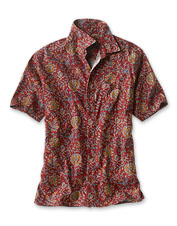 A hemp and Tencel blend conspires with a colorful print to make this shirt a favorite.