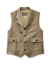 Elevate your outfit with this warm, dapper herringbone tweed vest for men.