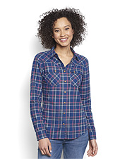 This Western flannel shirt for women showcases soft comfort and a flattering shape.