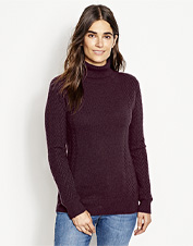Wrap yourself in the warm comfort of our Herringbone-Stitch Cashmere Turtleneck sweater.