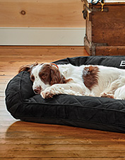 The supportive plush bolster on our ComfortFill-Eco dog bed indulges your pet in secure comfort.
