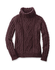 Wool and cashmere Donegal yarns add visual interest to this updated women's turtleneck.