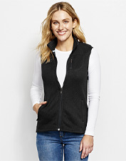 Layer against gusty weather and dipping temps in this Marled Sweater Fleece Zip-Front Vest.