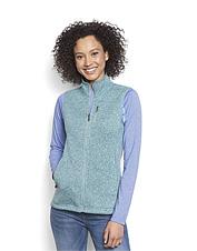 Versatile and flattering, this women's sweater fleece zip-front vest is an ideal casual layer.