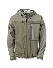 The Orvis Encounter packable rain jacket delivers lightweight waterproof protection.