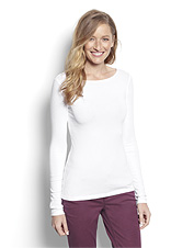 Our Perfect Long-Sleeved Boatneck Tee shirt is a flattering wardrobe essential.