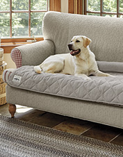 Our bolstered furniture cover protects your upholstery while it indulges your beloved dog.
