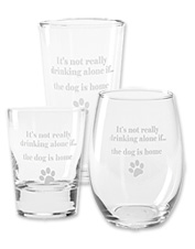 Toast to what matters most with these dog-themed novelty wine, beer, or cocktail glasses.