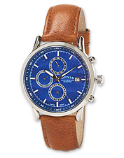 Three eyes define as many functions on our contrasting leather and blue dial chronograph.