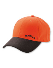 This blaze orange hunting hat features a durable waxed cotton brim.