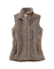 Cozy fleece pairs with flattering and stylish details in this pretty women's fleece vest.