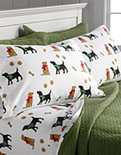 These soft Portuguese cotton flannel sheets are sure to make any dog lover beg for bedtime.