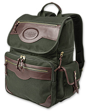 You'll recognize the familiar green canvas and leather in this updated business backpack.