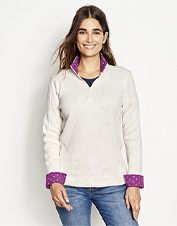 Pretty printed trim accents at the collar and cuffs revise our Signature Softest Sweatshirt.