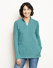 This French terry quarter-zip sweatshirt shows off sunwashed hues for a laid-back, beachy feel.