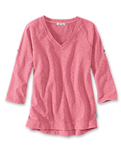 A pretty sunwashed finish gives this V-neck pullover sweatshirt for women its timeworn look.