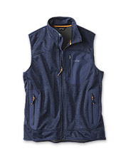 The Sweater Fleece Vest: superior warmth, free movement, and windproof protection.