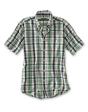 True to its history, this cotton madras plaid button-down shirt only improves with age.