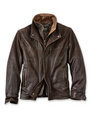 Pebbled goatskin with calfskin trim distinguishes this handsome men's leather jacket.
