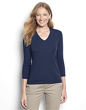Ideal for layering, our revised women's V-neck shirt is an elegant and feminine tee.