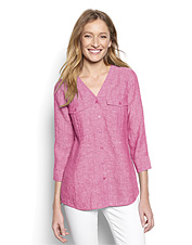 This versatile Lightweight Linen V-Neck Shirt comes in summery hues you'll love.
