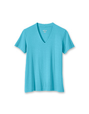 Our favorite women's V-neck tee shirt boasts a double-layered front and updated fabric.
