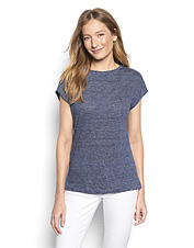 This knit linen dolman tee for women promises breathable comfort and a flattering profile.